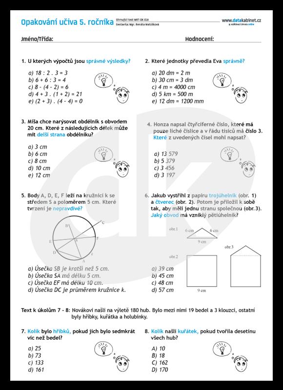 e44dc41f2 Opakování učiva 5. ročníku - test | datakabinet.cz